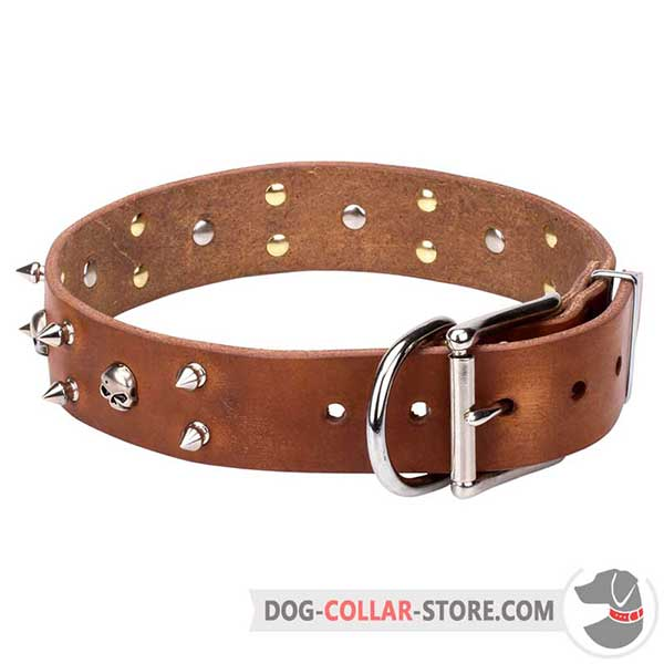Everyday Leather Collar with Decorations