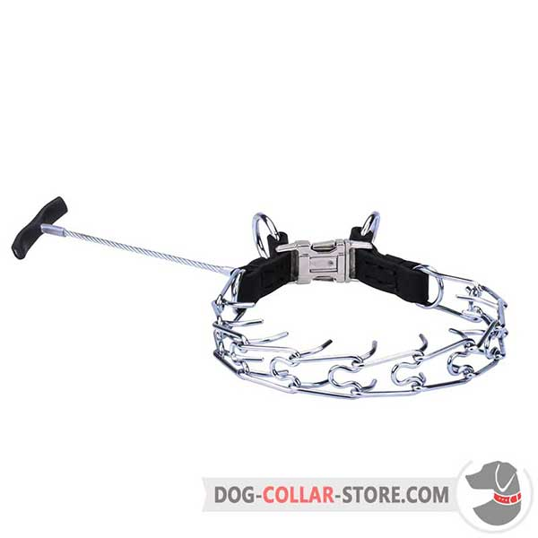 Dog metal pinch collar with handle