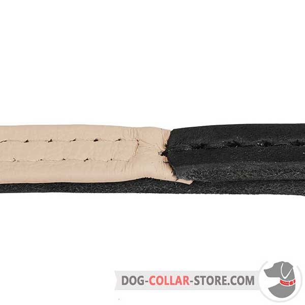 Dog Choke Collar: strongly stitched 2 plies of leather