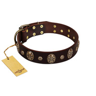 """Breaking the Horizon"" FDT Artisan Brown Leather dog Collar with Engraved Studs and Medallions"