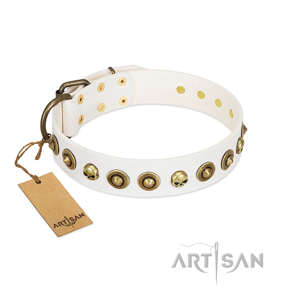 Full grain leather collar with extraordinary studs for your four-legged friend