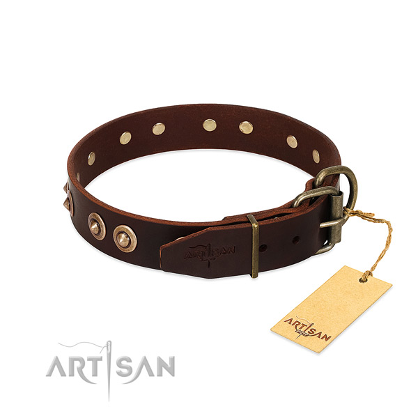 Reliable fittings on natural genuine leather dog collar for your four-legged friend