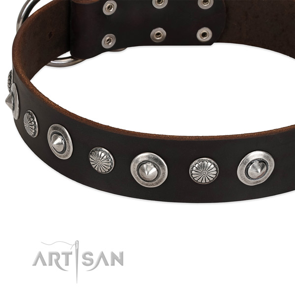 Exceptional decorated dog collar of finest quality natural leather