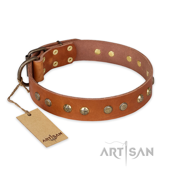 Embellished natural genuine leather dog collar with corrosion proof hardware