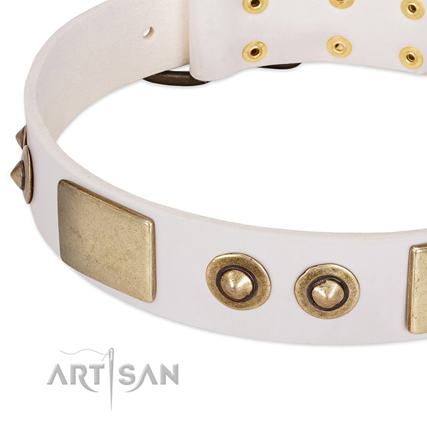 Corrosion proof hardware on full grain leather dog collar for your doggie