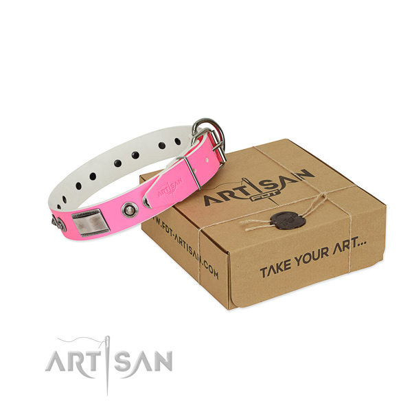 Easy to adjust dog collar of full grain genuine leather with adornments