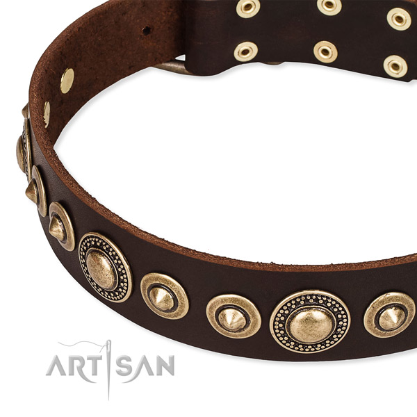 Soft to touch full grain leather dog collar handcrafted for your impressive canine