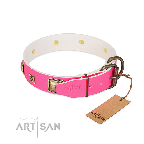 Corrosion proof hardware on genuine leather collar for basic training your pet