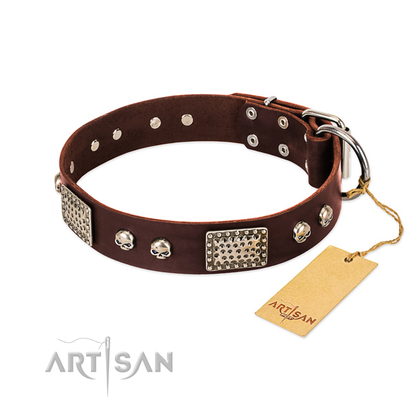 Easy to adjust full grain genuine leather dog collar for daily walking your pet