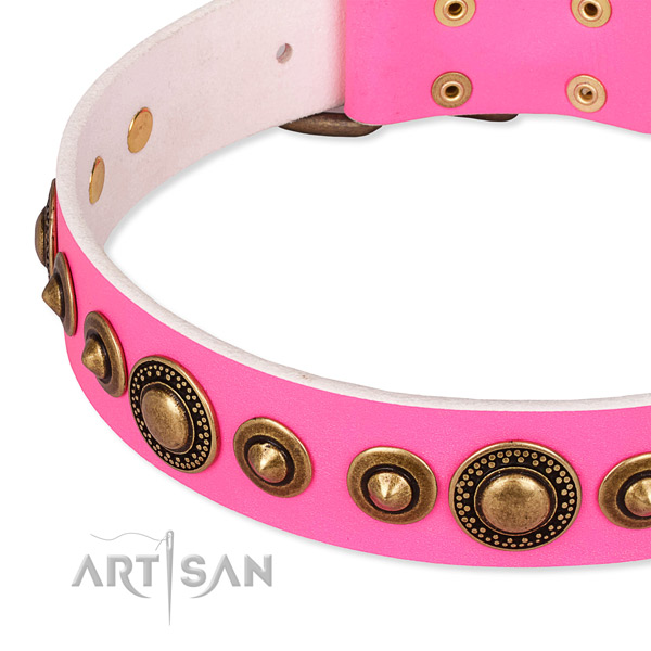 Strong full grain natural leather dog collar handcrafted for your attractive dog