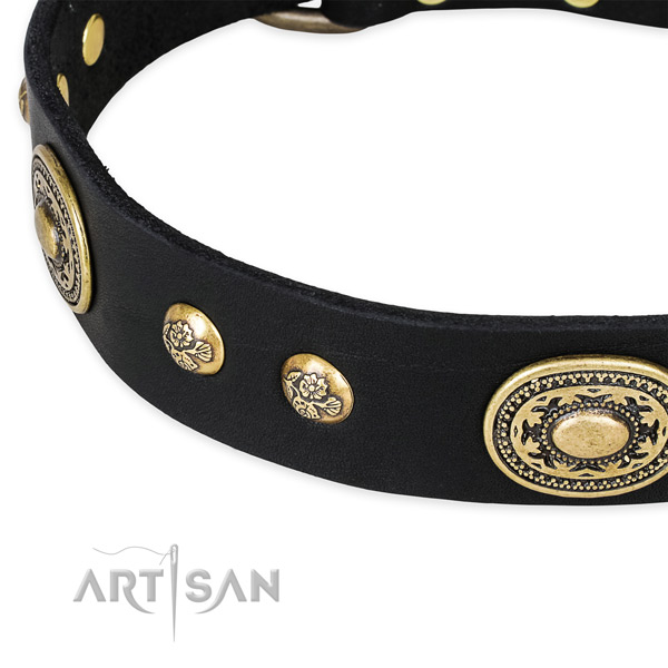 Inimitable genuine leather collar for your stylish doggie