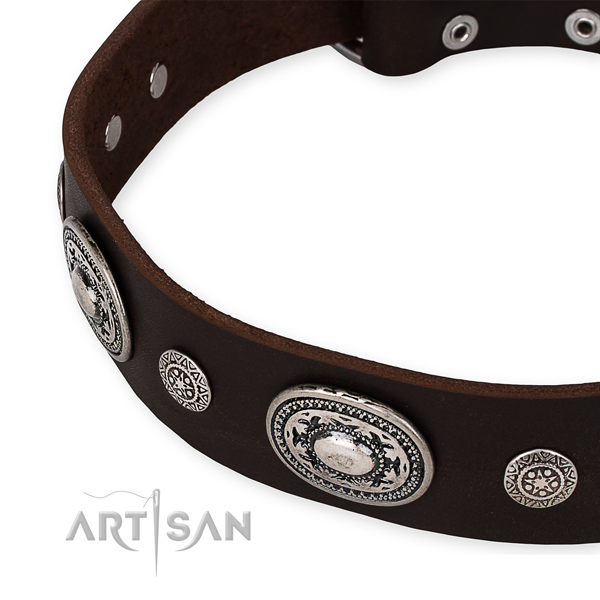 Strong full grain natural leather dog collar handmade for your lovely pet