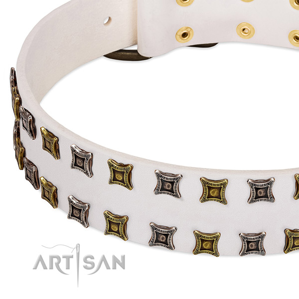 Full grain genuine leather dog collar with decorations for your impressive canine