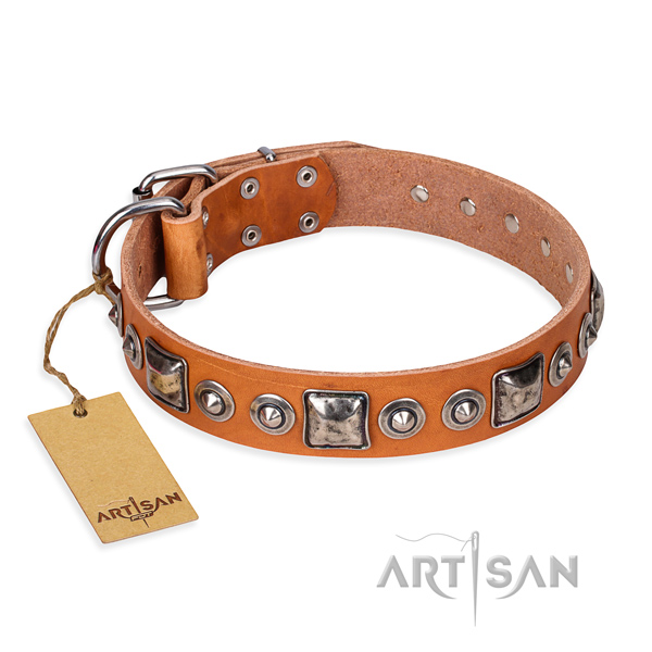 Natural genuine leather dog collar made of top rate material with rust resistant hardware