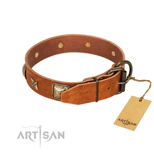 Natural genuine leather dog collar with strong fittings and adornments