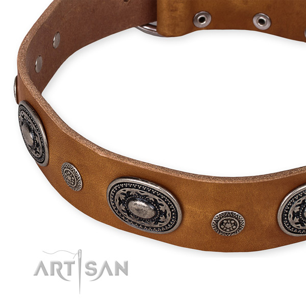 Durable natural genuine leather dog collar made for your handsome pet