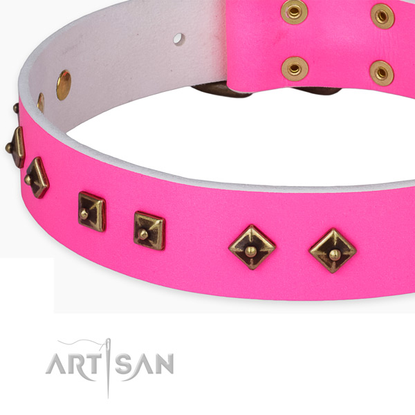 Perfect fit full grain genuine leather collar for your beautiful four-legged friend