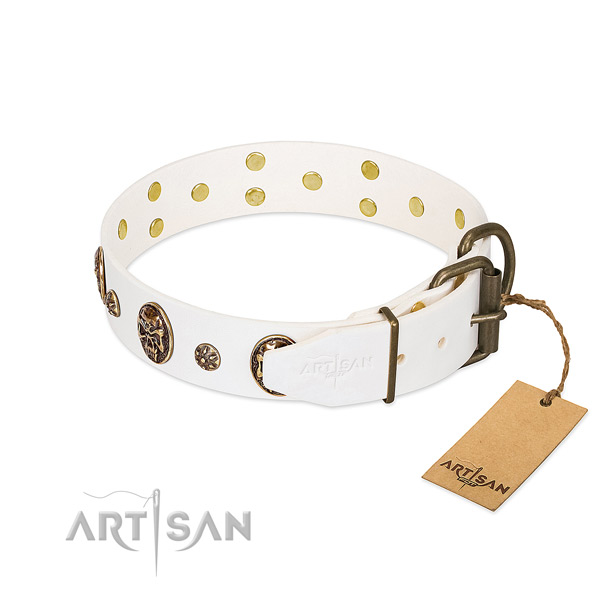 Corrosion proof D-ring on full grain leather dog collar for your doggie