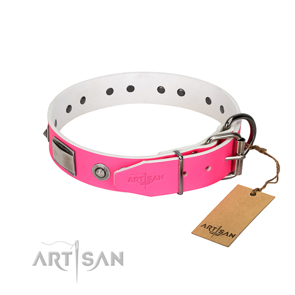 Best quality dog collar of genuine leather with embellishments