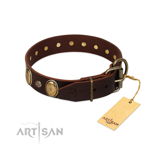 Comfortable wearing flexible natural genuine leather dog collar