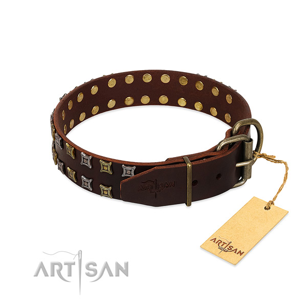 Top rate natural leather dog collar created for your pet