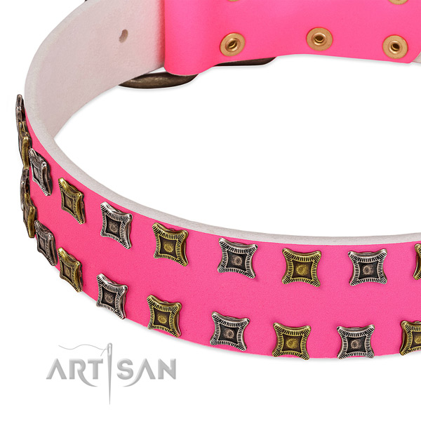 Genuine leather dog collar with stunning decorations