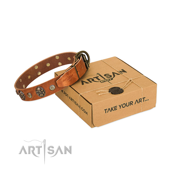 Strong traditional buckle on full grain natural leather dog collar for everyday use