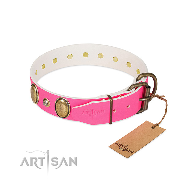 Daily walking best quality natural genuine leather dog collar