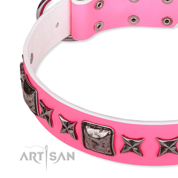 Everyday use decorated dog collar of top quality full grain genuine leather