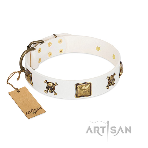 Unique full grain genuine leather dog collar with strong studs