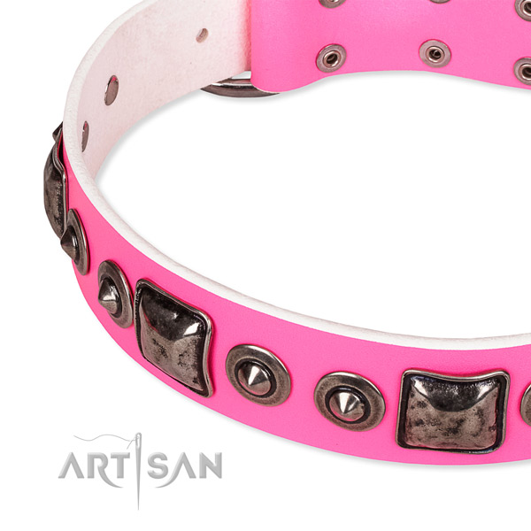 Soft natural genuine leather dog collar made for your lovely dog