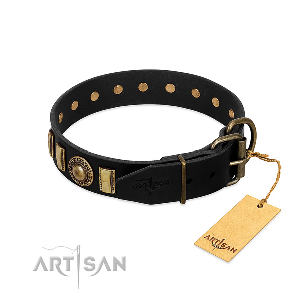 Best quality full grain natural leather dog collar with adornments