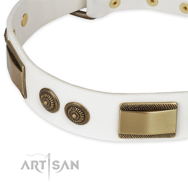 Durable traditional buckle on full grain natural leather dog collar for your four-legged friend
