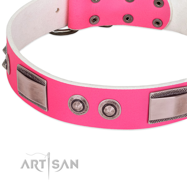 Inimitable genuine leather collar with decorations for your canine