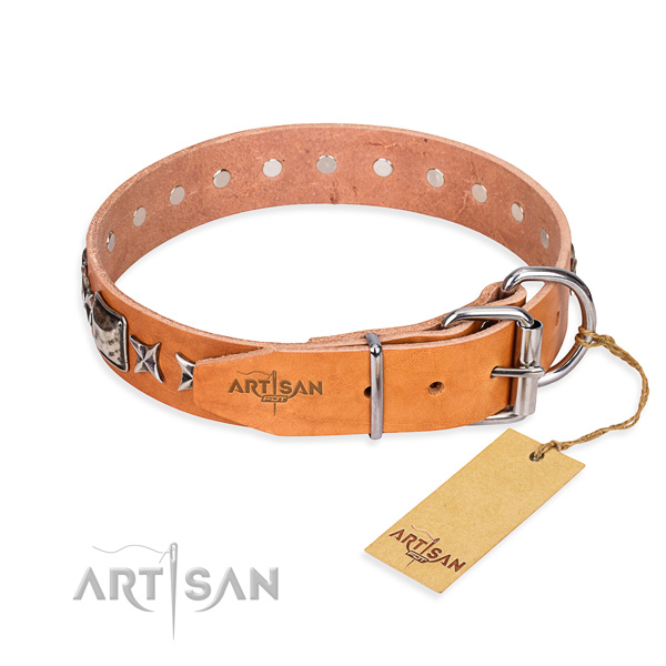 Top quality adorned dog collar of genuine leather
