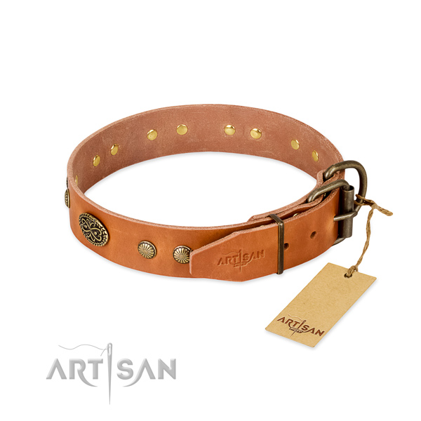 Corrosion proof hardware on full grain genuine leather dog collar for your doggie