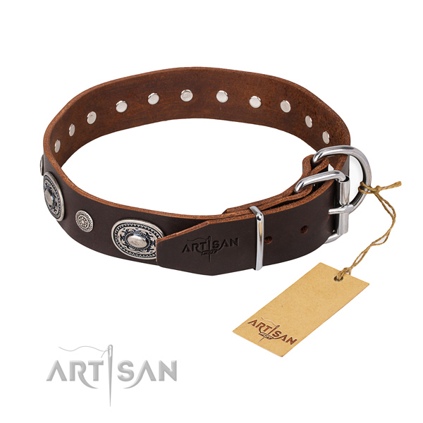 Soft natural genuine leather dog collar handcrafted for comfortable wearing