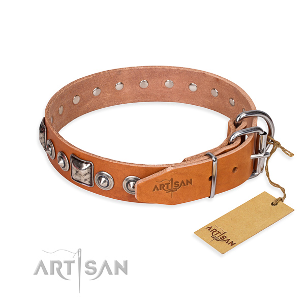 Full grain genuine leather dog collar made of best quality material with rust resistant embellishments