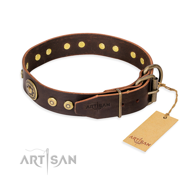 Full grain natural leather dog collar made of best quality material with durable adornments