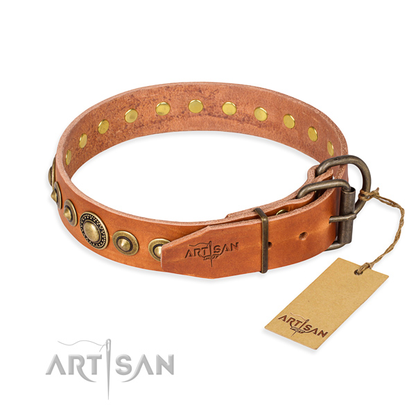 High quality full grain genuine leather dog collar handmade for easy wearing