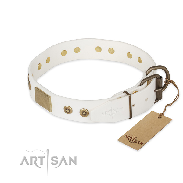 Full grain natural leather dog collar with corrosion proof traditional buckle and studs