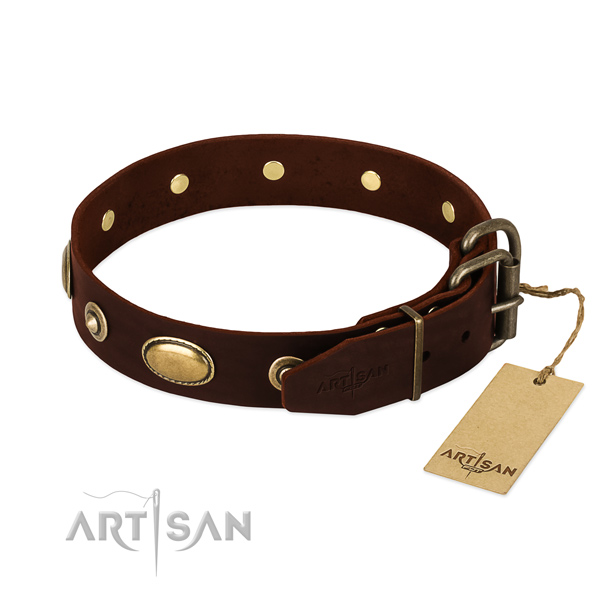 Reliable D-ring on full grain genuine leather dog collar for your pet