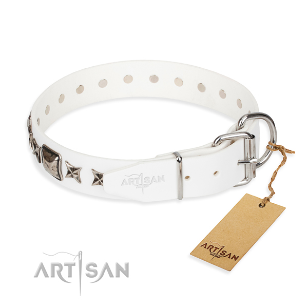 Finest quality adorned dog collar of leather