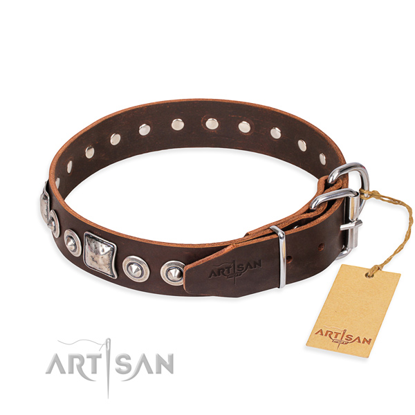 Leather dog collar made of soft to touch material with corrosion resistant decorations