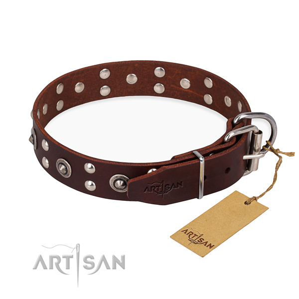 Reliable hardware on full grain genuine leather collar for your impressive pet