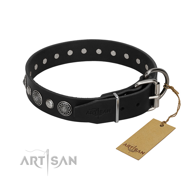 Strong genuine leather dog collar with fashionable studs