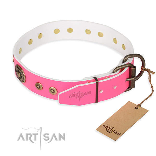 Full grain leather dog collar made of top rate material with corrosion resistant embellishments