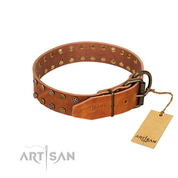 Easy wearing full grain genuine leather dog collar with incredible embellishments