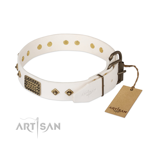 Genuine leather dog collar with rust-proof buckle and adornments