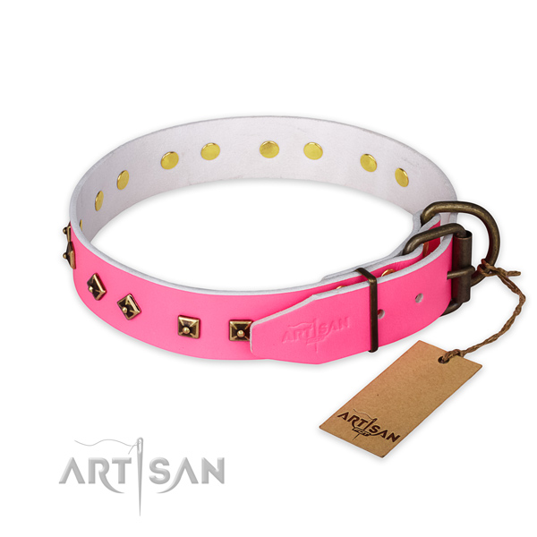Rust-proof buckle on full grain leather collar for daily walking your doggie